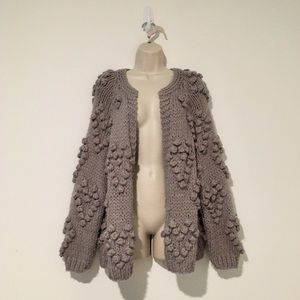 Vici Gray Heart Bobble Cardigan Sweater